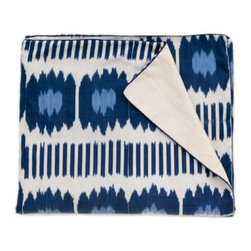 Blue Collins Ikat Bedspread - Oh how happy I would be crawling into this Madeline Weinrib bedding. Such a fun Ikat pattern.