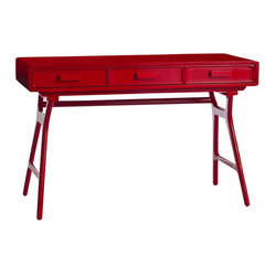 Arteriors - Phillip Desk - Reclaim the lost art of writing letters. A standout in red lacquer, this desk's top has three drawers for personalized note cards, pens and stamps — all supported on sleek, midcentury-inspired legs. Correspondence not your thing? It would look great behind a sofa or in an entry hall.