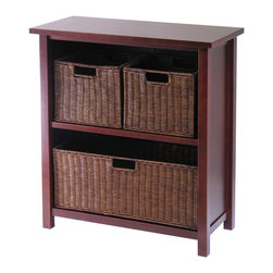 Winsome - Milan 4pc Cabinet/Shelf with 3 Baskets - Simple design yet function and attractive storage shelf with 3 wired baskets is perfect for your any room in the home. Wood finished in Antique Walnut color. Two small and One large baskets.