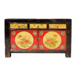 Golden Lotus - Chinese Hand Painted Full Moon & Floral Motif Buffet Table Side Table - This is a vintage Chinese full moon and floral motif colorful painting buffet table. It can also be a nice TV stand or cabinet for any storage purposes. There is gorgeous hand painting on the front side. This is a eye catching item to put in your living room.