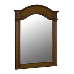 Belle Foret - Belle Foret 40 in. x 30 in. Framed Carved Portrait Mirror, Vintage Oak (80041) - Belle Foret 80041 40 in. x 30 in. Framed Carved Portrait Mirror, Vintage Oak