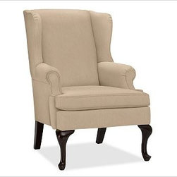 "Gramercy Upholstered Wingback Armchair, Everydayvelvet Buckwheat - A design standout, this armchair has sloping wings, double-scroll arms and cabriole legs that define it as a Queen Anne Wingback. 29.5"" wide x 34"" deep x 42"" high Corner blocked frame for structural integrity. Tight back is thickly padded for extraordinary comfort. Heavy gauge sinuous springs support a T-shaped seat cushion with a solid foam core that's wrapped in plush padding. Espresso-stained hardwood legs. This item can also be customized with your choice of over {{link path='pages/popups/fab_leather_popup.html' class='popup' width='720' height='800'}}80 custom fabrics and colors{{/link}}. For details and pricing on custom fabrics, please call us at 1.800.840.3658 or click Live Help. View and compare with other collections at {{link path='pages/popups/furniture_DOC.html' class='popup' width='720' height='800'}}Upholstery Furniture Facts{{/link}}. Watch a video about the high quality of our {{link path='/stylehouse/videos/videos/pbq_v22_rel.html?cm_sp=Video_PIP-_-PBQUALITY-_-OUR_UPHOLSTERY' class='popup' width='950' height='300'}}upholstered furniture{{/link}}. Made in USA."