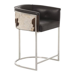 Arteriors - Calvin Low Barstool - A little bit country and a little bit rock 'n' roll. This stylish and sublimely comfortable bar stool features a cushioned black leather seat perched atop a tubular metal frame. Tufted hide wraps around the back of the seat, adding an unexpected twist of cowpoke panache.