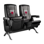 Dreamseat Inc. - Chicago Bulls NBA Row One VIP Theater Seat - Double - Check out these fantastic home theater chairs. These are the same seats that are in the owner's VIP luxury boxes at the big stadiums. It has a rocker back and padded seat, so it's unbelievably comfortable - once you're in it, you won't want to get up. Features a zip-in-zip-out logo panel embroidered with 70,000 stitches. Converts from a solid color to custom-logo furniture in seconds - perfect for a shared or multi-purpose room. Root for several teams? Simply swap the panels out when the seasons change. This is a true statement piece that is perfect for your Man Cave, Game Room, basement or garage.