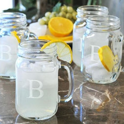 Home Decorators Collection - Monogram Drinking Jars - Set of 4 - You'll be thinking of Gramma and her jam jars every time you take a sip from these monogrammed glass drinking jars. Holds a full 16 ozs. This set of 4 glasses is the perfect barware for any beverage you choose to serve. A very special addition to your collection of entertainment home accents. Makes a great gift too! Blends in beautifully with your existing home decor. Perfectly placed handles on each jar. Please specify your monogram preference.