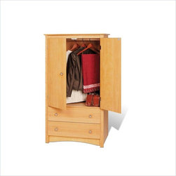 """Prepac - Prepac Sonoma Maple TV/Wardrobe Armoire - Prepac - Armoires - MDC3359K - The versatile Sonoma Maple TV/Wardrobe Armoire features two full sized drawers as well as a cabinet with both a hanging rod and an adjustable shelf conveniently hidden behind double doors. It may be used as a wardrobe storage cabinet or entertainment center capable of holding most 24"""" TVs."""