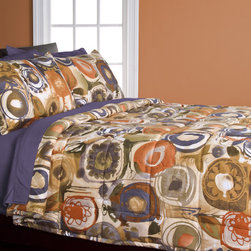 None - Enchanted Maze 3-piece Comforter Set - Update your bedroom decor with this quilted three-piece comforter set. The Enchanted Maze patterned design features abstract color swirls in pumpkin,goldenrod,and cornflower blue. The set comes with two matching shams for a coordinated look.