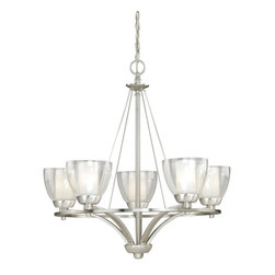 Vaxcel - Asti 5L Chandelier Satin Nickel with Outer Clear and Inner Frosted Opal Glass - Asti 5L Chandelier Satin Nickel with Outer Clear and Inner Frosted Opal Glass, Transitional Style