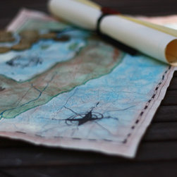 Pirate Map Making Kit - This pirate map kit even comes with skull and crossbones wax seals.