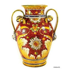 Artistica - Hand Made in Italy - Majolica Rubino: Large Vase/Urn with Two Handles. - Majolica Rubino Collection:
