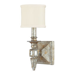 Capital Lighting - Capital Lighting Palazzo Transitional Wall Sconce X-535-GS1848 - A single candelabra style light with traditional turned detailing has been highlighted by a unique blend of Gold and Silver Leaf finishes on this stylish Capital Lighting wall sconce. From the Palazzo Collection, this visually stunning design also features a decorative fabric shade and coordinating antique mirror accents.