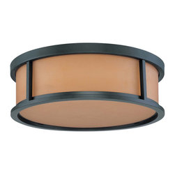 "Aged Bronze Energy Star Flush Ceiling Light With Parchment Glass 15"" - Condition: New - in box"
