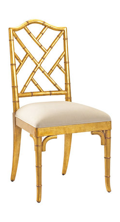 Kathy Kuo Home - Chinese Chippendale Hollywood Regency Gold Bamboo Dining Chair - Elegant mahogany is hand carved to resemble bamboo in this exquisite, high-backed side chair. Ivory beige linen upholstery complements the gold frame for an eclectic, inviting seat that's fashionable anywhere in your home.