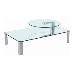 Chintaly Imports - Two Tier Motion Glass Cocktail Table - Two Tier Motion Glass Cocktail Table