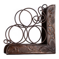 Old Dutch - Old Dutch Antique Embossed 3 Bottle Wine Rack Bookend Multicolor - 831 - Shop for Wine Bottle Holders and Racks from Hayneedle.com! Nothing makes a better pair than a glass of wine and a good book so put them together with the Old Dutch Antique Embossed 3 Bottle Wine Rack Bookend. With an ornate look and gorgeous antique silver finish this bookend holds three bottles of your favorite wine.About Old Dutch InternationalFamous for their copperware Old Dutch International Ltd. has been supplying the best in imported housewares and giftware to fine retailers throughout America since 1950. They offer a large assortment of housewares including bakers racks trivets and pot racks in materials like chrome colorful enamel and stainless steel. Other product lines include wine racks serving trays specialty cookware clocks and other home accessories. Old Dutch warehouses and distributes their products from a 30 000 square foot facility in Saddle Brook N.J.