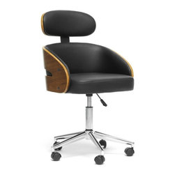 "Wholesale Interiors - Kneppe Black Modern Office Chair - Work smarter with the Kneppe Contemporary Office Chair. This swiveling seats walnut-finished plywood and black faux leather make it a stylish place to keep your nose to the grindstone. Black plastic caster wheels are affixed to the bottom of a chrome-plated steel base and adjustable height gas piston. The Kneppe Modern Office Chair is made in China and requires assembly. To clean, wipe with a damp cloth. Seat dimensions: 19""to 23.75"" H x 17"" W x 18"" D. Dimensions: 36"" H x 22"" W x 23"" L."