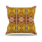 "Kess InHouse - Mydeas ""Butterfly Dog Damask"" Yellow Red Throw Pillow (18"" x 18"") - Rest among the art you love. Transform your hang out room into a hip gallery, that's also comfortable. With this pillow you can create an environment that reflects your unique style. It's amazing what a throw pillow can do to complete a room. (Kess InHouse is not responsible for pillow fighting that may occur as the result of creative stimulation)."