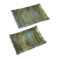 iMax - Field of Dreams Large Trays, Set of 2 - Like a picturesque scene from a classic novel, the set of three Field of Dreams trays evoke a sense of calmness with cool tones and wild grass silhouettes. Food safe.