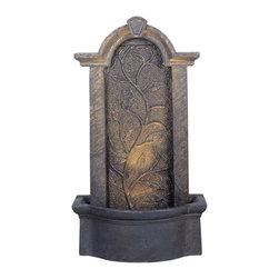 """Kenroy Home - Meadow Outdoor Bronze Indoor - Outdoor Floor Fountain - This bronze outdoor floor fountain give you the feeling that you have just entered a luxurious garden full of serene and calming effects. The durable fountain will stand up to the elements for many years and provide a wonderful water sound that your family and friends will love. For indoor or outdoor use. From the Kenroy Home fountain collection. Includes bulbs. 45"""" high. 25"""" wide. 12"""" deep.  Meadow outdoor fountain.  By Kenroy Home.  Lights in lower basin.  Olde bronze finish.  Lightweight resin construction.  Comes with pump and cord.  Includes halogen bulbs.  45"""" high.   25"""" wide.   12"""" deep."""
