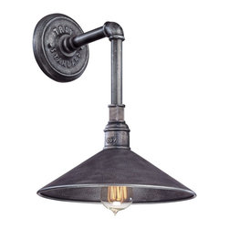 "Troy - Contemporary Toledo Collection 14 3/4"" High Silver Outdoor Wall Light - Capture rugged vintage style with this distinctive industrial wall light. Featuring an old silver finish this lamp will warm your outdoor spaces so you'll feel comfortable at night. Perfect for walkways or garage areas. Small industrial wall light. Old silver finish. Maximum 60 watt or equivalent bulb (not included). 14 3/4"" high. 11"" wide. Extends 12 1/2"" from the wall. Backplate is 4 3/4"" wide. Shade is 11"" wide.  Small industrial wall light.  Old silver finish.  Design by Troy Lighting.  Maximum 60 watt or equivalent bulb (not included).  14 3/4"" high.  11"" wide.  Extends 12 1/2"" from the wall.  Backplate is 4 3/4"" wide.  Shade is 11"" wide."