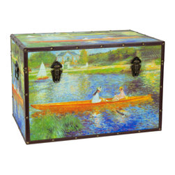 Oriental Furniture - Faux Leather Renoir the Seine Trunk - A peaceful midsummer outing is the subject of this trunk featuring Renoir's The Seine at Asnieres. Drawing upon the simple pleasures of an earlier time, this trunk will remind you of tranquil summers by the waterside, quiet moments spent with family and friends, and the calming motion of the river through the rushes. This classic painting by the Impressionist master has been lovingly rendered on art-quality canvas in fine pastel colors. The river Seine glows with hues of indigo and periwinkle amidst grasses radiating green and yellow in the sunlight. This trunk features a convenient arm to hold the lid open, tight-clasping closures, and a soft fabric interior in a perfect marriage of function and form. The sturdy wood construction is surprisingly lightweight and portable, and the durable, tear resistant canvas is protected with riveted faux leather edges to provide you with a stylish chest that is built to last. Guaranteed to provide a dose of summer even in the dead of winter, this chest is perfect as a decorative accent or a thoughtful gift.