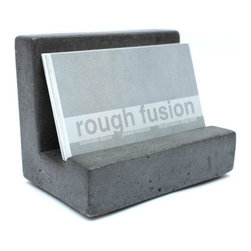 Rough Fusion - Concrete Business Card Holder, Dark Gray - A simple, minimalist design and classic concrete structure.