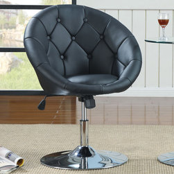 Coaster - Swivel Chair, Black - Button tufted swivel chairs in leather-like vinyl with chrome base can adjust in height and tilt. Pairs nicely with chrome-based glass table.