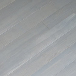 Strand Chrome Wide Plank Bamboo Flooring - This is a light grey stain on top of our Wide Plank Strand Woven Carbonized. Turns any room into a modern, sophisticated space, plus it's almost three times harder than oak.