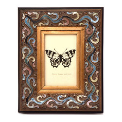 """Traders and Company - Enamel Inlaid 4x6 Wood Picture Frame w/ Jewels, 8.75""""Lx1.5""""Wx10.75""""H - Breakers - Crafted from wood and given a classically antiqued look, each frame is dramatically inlaid with swirled resinous enamel. Embedded colorful rhinestone jewels dot the design, adding sparkle and shimmer to your photos. Each frame comes with an attached kickstand for desktop use, or hooks for vertical or horizontal wall hanging. Fits 4""""x6"""" photos. Alternate shapes & styles sold separately. Dimensions: 8.75""""Lx1.5""""Wx10.75""""H"""