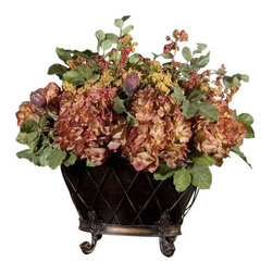 Uttermost English Autumn Floral Bouquet - Earthy, fall colors in a full bouquet of hydrangea, yarrow, berries, protea, and green foliage, arranged in a two-part tole planter that rests in a footed, wire basket. Earthy, fall colors in a full bouquet of hydrangea, yarrow, berries, protea and green foliage arranged in a two-part tole planter that rests in a footed, wire basket.