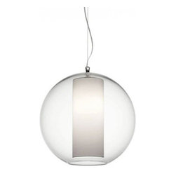 """Bolla Cotton Small Pendant - The Bolla Cotton Small pendant light from Modoluce has been designed by Paolo Grasselli and ModoLuce Research in 2008. This suspension luminaire is great for incandescent lighting. This fixture is composed of acyrlic glass with an inner shade available in acrylic glass, and cotton fabric. The Bolla pendant light exhibits a versatile and extraordinary design, along with quality craftsmanship, that is sure to brilliantly brighten any contemporary domain.  Product Details:  The Bolla Cotton Small pendant light from Modoluce has been designed by Paolo Grasselli and ModoLuce Research in 2008. This suspension luminaire is great for incandescent lighting. This fixture is composed of acyrlic glass with an inner shade available in acrylic glass, and cotton fabric.  The Bolla pendant light exhibits a versatile and extraordinary design, along with quality craftsmanship, that is sure to brilliantly brighten any contemporary domain.  Details:                         Manufacturer:             ModoLuce                            Designer:                        Paolo Grasselli and ModoLuce Research                                         Made in:            Italy                            Dimensions:             Diameter: 15.75"""" (40 cm)                                                   Light bulb:                         1 x 60W Incandescent or CFL Equivalent                                                      Material:             Acrylic glass"""