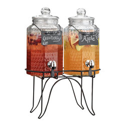 Home Essentials - Twin Hammered Dispenser w/ chalkboard On Stand - Help yourself! serving sangria, punch, water or any beverage Just become a lot easier. This clear double drink dispenser with a push in spout comes with a stand to provide you with a combination of convenience and looks. The chained erasable name plate is a cute and fun addition to your party centerpiece.
