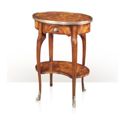 Theodore Alexander - Decorative Sabots Lamp Table - A mahogany oval and brass bound lamp table, with a frieze drawer, cabriole legs, kidney shape undertier and brass mounts. The original Louis XV.