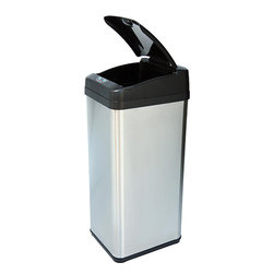 iTouchless - iTouchless 13-gallon Square Extra-wide Opening Trash Can - MX Model touchless trash can features a sensor-operated,extra-wide openingTrash bin has an infrared sensor with a range of 6 inchesKitchen accessory closes automatically three seconds after your hand moves away from the lid