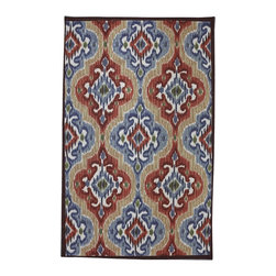 Mohawk Home - Outdoor Patio Mystic Ikat Primary Transitional 5' x 8' Mohawk Rug (11737) - A fresh, contemporary, eye-catching pattern, this rug design features an ikat pattern in vivid primary colors. Our outdoor rugs are made from nylon that resists staining, fading, and mold/mildew. Our unique marine backing application on our nylon outdoor rugs allows the water to pass through the rug instead of absorbing it, much like the carpet you find on boats.Gray Lock Tuft Marine Backing