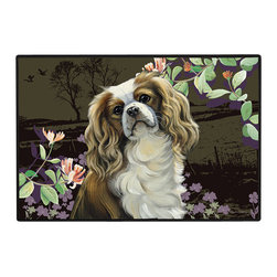 230-Cavalier Springtime Doormat - 100% Polyester face, permanently dye printed & fade resistant, nonskid rubber backing, durable polypropylene web trim on the porch or near your back entrance to the house with indoor and outdoor compatible rugs that stand up to heavy use and weather effects