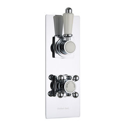 Hudson Reed - Traditional Concealed 1 Outlet Twin Shower Mixer Valve With Slim Plate in Chrome - This twin thermostatic shower valve with slim trim plate from Hudson Reed features traditional style handles for a classic look to your bathroom. This shower valve supplies water at a pre-set temperature to either a fixed shower head, shower handset or tub filler. Made in Great Britain from brass with a chrome finish, this high quality thermostatic shower valve incorporates ceramic disc technology and an anti-scald device for a safer showering experience.