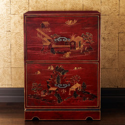 Chinoiserie File Cabinet - I would toss this nod to chinoiserie into a modern space for a bit of pattern and whimsy. This is not your average filing cabinet!