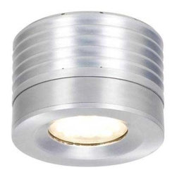 CSL - Entity LED Flush Mount - Entity LED Flush Mount Ceiling is made of diecast aluminum with spun aluminum shade in Satin Aluminum, Bronze or White finish. One 16 watt 120-277 volt 16 watt LED, 2800K, 85CRI, 1100 lumens included. Includes 25, 45 and 65 degree optics. Optional 85 degree optic available, sold separately. 5 inch width x 3.5 inch height. Stem kit available, sold separately. Also available with a Flat Disc, Shallow Bowl, or Deep Bowl shade accessory, sold separately. UL listed for damp locations.