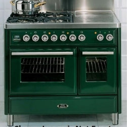 """Ilve - UMTD100FMPM Majestic Techno 40"""" Freestanding Dual Fuel Range with 5 Burner  Roti - Majestic Techno 40 Traditional Style Freestanding Dual Fuel Range with 5 Burner Rotisserie Griddle 244 cu ft Main Oven 144 cu ft Mini Oven European Convection Warming Drawer 4 Racks and Removable Door"""