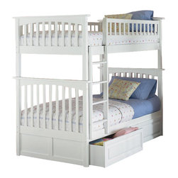 Atlantic Furniture - Atlantic Furniture Columbia Twin over Twin Bunk Bed-Natural Maple - Atlantic Furniture - Bunk Beds - AB55105 - The Atlantic Furniture Columbia Twin over Twin Bunk Bed has a clean modern look with subtle Mission styling. The simple lines of the head and foot boards have the square posts and slats characteristic of this design. This versatile bunk bed is available in a number of options that is sure to please both you and your child.