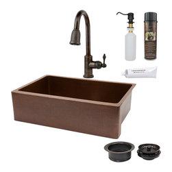 "Premier Copper Products - 33"" Antique Kitchen Apron Sink w/ ORB Faucet - PACKAGE INCLUDES:"