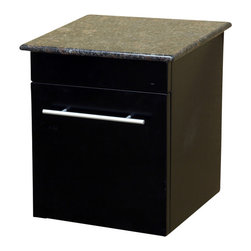 Bellaterra Home - Solid wood wall mount side cabinet-black-baltic brown - Wall mount cabinet with genuine marble top.  Full extention drawer glides with brush nickel finish hardware.