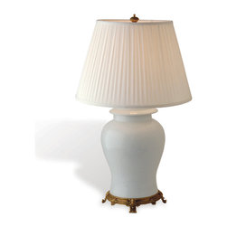 Kathy Kuo Home - Blanc de Chine Traditional White Porcelain Chinese Urn Table Lamp - If you are looking for a classic white ceramic chinoiserie lamp with gold accents, the search ends with this gorgeous Asian inspired lamp.  This beauty has all the right references from its gold leaf base to its pleated shade, making it the perfect addition to any French Country or Asian inspired room.