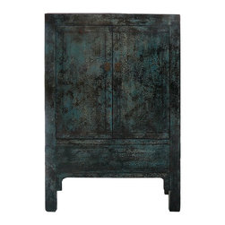 Golden Lotus - Chinese Crackle Blue Lacquer Armorie Storage TV Cabinet - This is a simple cabinet with nice crackle pattern rustic blue lacquer finish. There is a inside storage compartment around the bottom. It can be a storage cabinet or a closed door TV media cabinet. It is a pretty accent piece for home or business.