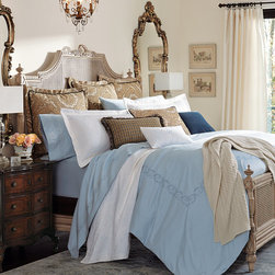 "Frontgate - Resort Duvet Cover - Sateen weave feels lightweight and luxurious on the skin. Elegant tailored or embroidered hem options. Fit the thickest premium mattresses. Retain their luster and softness wash after wash. Optional 2"" monogram available. Inspired by linens on the finest hotel beds, our exclusive Resort Bedding is woven from long-staple cotton, with patented MicroCotton™ technology. These elegant, 600 thread count sheets have a smooth feel, brilliant sheen, and excellent drape. The only thing missing is the turndown service. .  . .  . . Machine wash. Imported. Please note, personalized items are nonreturnable. Allow 3-5 additional days for delivery."