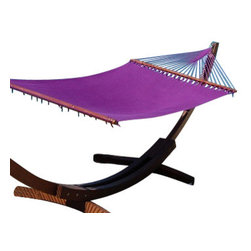 Jumbo Sized Purple Weather Resistant Hammock - his beautiful jumbo sized, purple Caribbean hammock is hand woven from soft spun polyester, and can last up to 5 times as long as similar cotton hammocks. The bed of the hammock is woven with an extra tight micro-weave design, providing the ultimate in comfort and stability. The wood spreader bar has multiple coats of marine varnish to protect it from the elements and is a full 55 inches wide giving ample room for any sized couple (It has a 500 pound capacity!). This hammock hangs easily from two suspension points that are 11.5ft or more apart. unlike cotton hammocks they will not rot, mold or mildew. These are the largest and most comfortable hammocks anywhere. NOTE: It does not come with stand or mounting hardware.