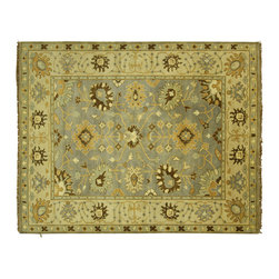 Manhattan Rugs - New Hand Knotted Oushak Wool 8' X 10' Baby Blue-Ivory Border Geometric Rug H5469 - Oushak rugs originated in the small town of Oushak in west central Anatolia, roughly 100 miles south of the city of Istanbul in Turkey. Oushak has produced some of the most decorative Persian influenced rugs of all times. Oushak has been a production center of Turkish rugs since the 15th century. In the late 15th century the 'design revolution' took place. Before, producing carpets was part of the nomad culture, meeting people's daily needs, but for the first time the works of designing and weaving rugs were split in two. These Turkish rugs began to be produced commercially. From the 16th up to the 18th century the most famous manufacturers of ottoman times worked in Oushak. A special heirloom wash produces the subtle color variations that give rugs their distinctive antique look.