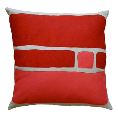 Balanced Design - Felt Appliqué Linen Pillow - Big Block, Red/Strawberry, 22x22 - Color-blocking is a great way to introduce bold shots of color to your home. The soft and colorful felt appliqué is a perfect match for the natural linen pillow, and you can feel great that it was made in the USA. The insert is even made of fiber from recycled plastic bottles. It's stylish and ecofriendly. What's better than that?