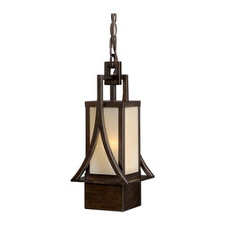 "Vaxcel - Vaxcel T0042 Osaka 6"" Outdoor Pendant Light - Vaxcel Lighting T0042 Osaka Exterior Pendant This Single Light Outdoor Pendant from Vaxcel Lighting has a venetian bronze finish. Features champagne glass."